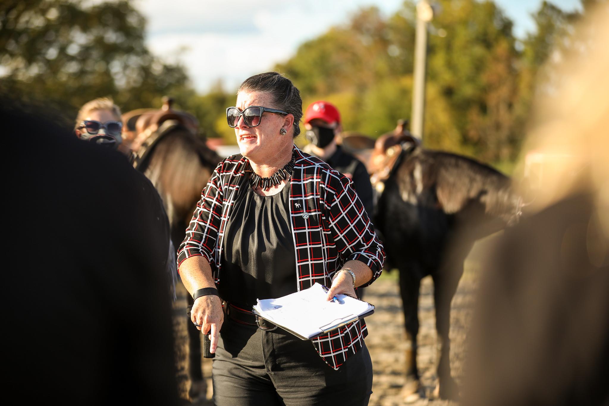 Georgia head coach Meghan Boenig during an equestrian meet between Georgia and Auburn at the UGA Equestrian Complex in Bishop, Ga., on Saturday, Oct. 23, 2020. (Photo by Chamberlain Smith)