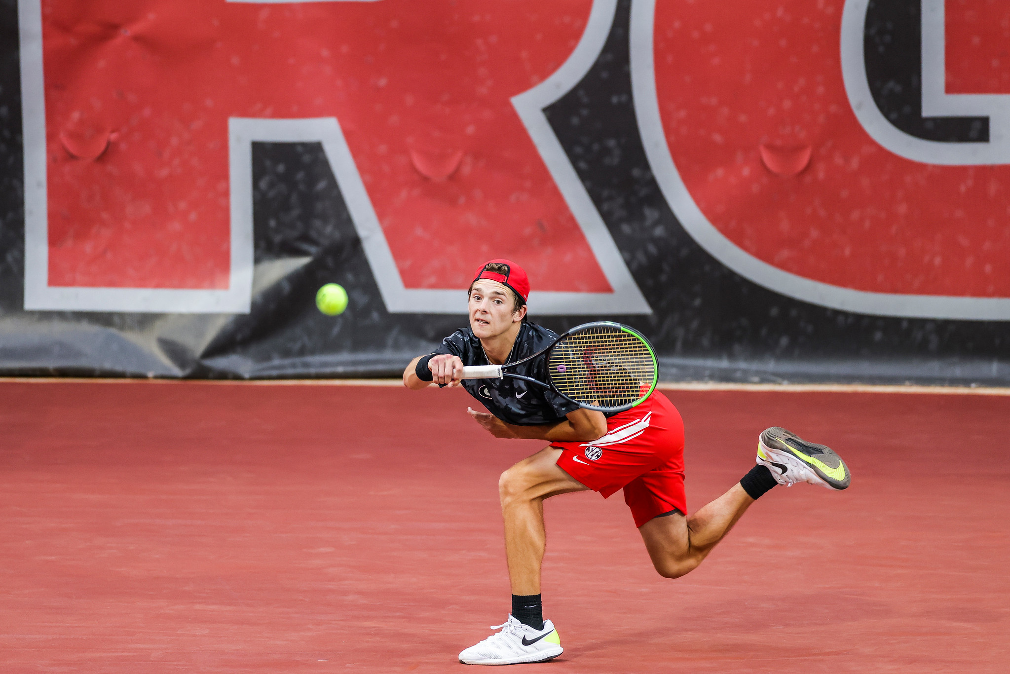 Georgia tennis player Tyler Zink during a match against Texas A&M at the Dan Magill Tennis Complex in Athens, Ga., on Friday, April 9, 2021. (Photo by Tony Walsh)