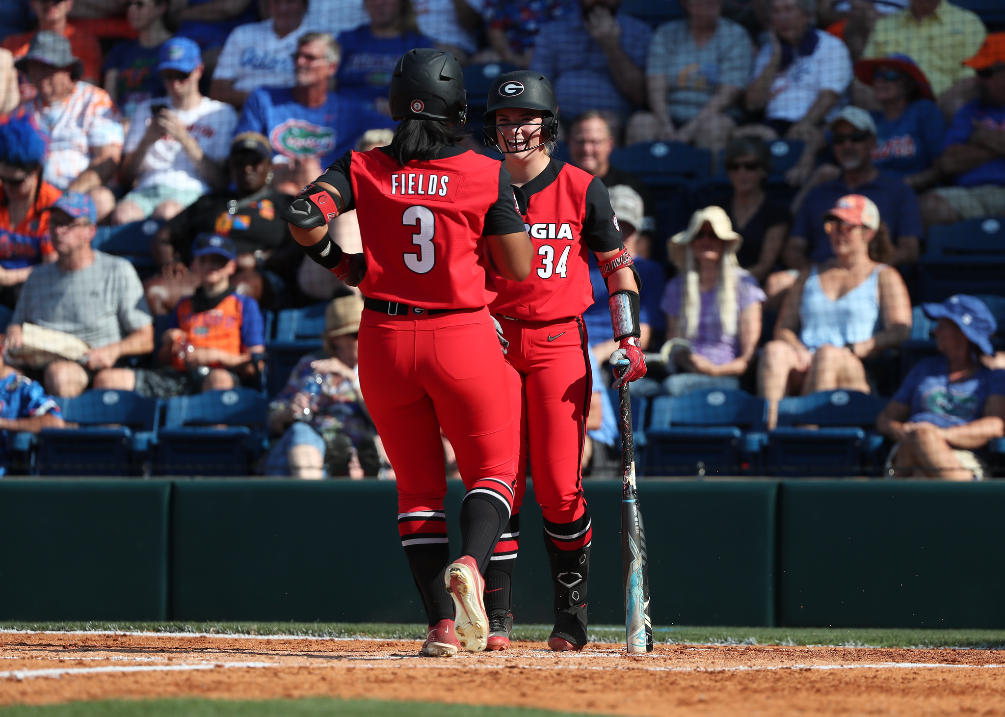 Georgia catcher Payden Bordeau (34), Georgia outfielder Jaiden Fields (3) during the Bulldogs' game against Florida on Friday, May 28, 2021 at Katie Seashole Pressly Softball Stadium in Gainesville, FL / UAA Communications photo by Hannah White