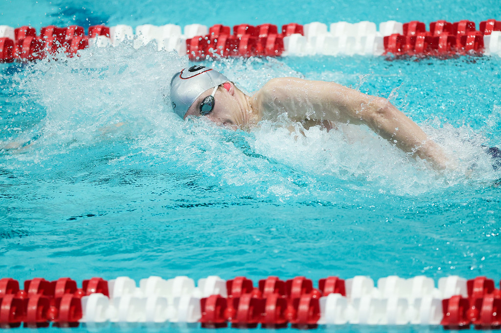 Georgia competes in preliminaries during the Georgia Invitational at the Gabrielsen Natatorium in Athens, Ga., on Wednesday, Nov. 18, 2020. (Photo by Chamberlain Smith)