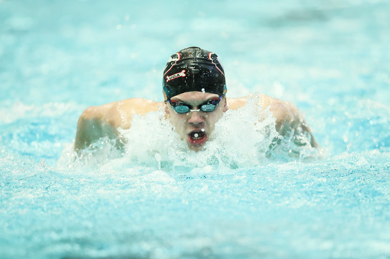 Georgia during a swimming and diving meet against South Carolina at the Gabrielsen Natatorium in Athens, Ga., on Saturday, Jan. 16, 2020. (Photo by Tony Walsh)