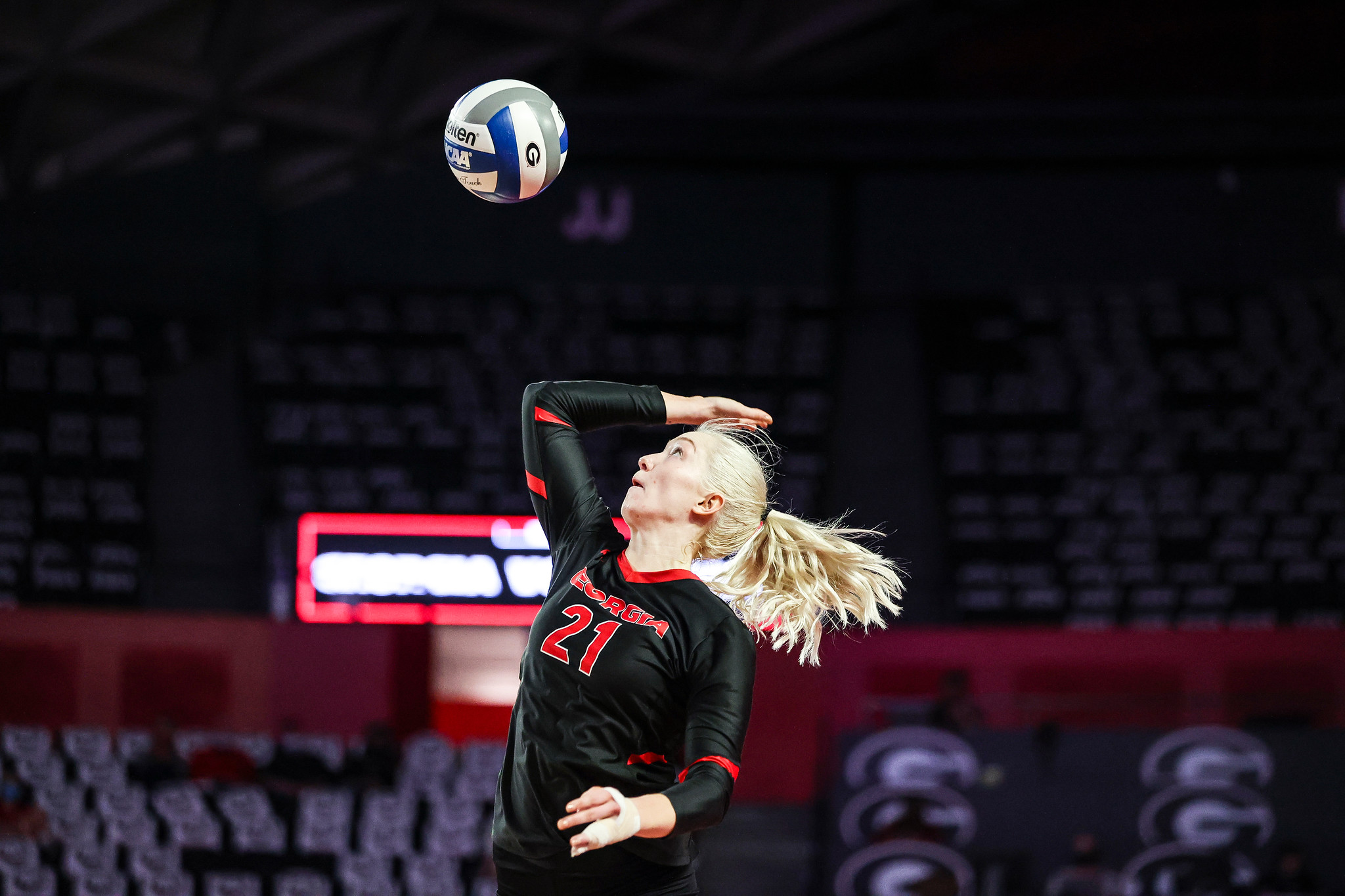 Georgia outside hitter Amber Stivrins (21) during a match against Texas A&M at Stegeman Coliseum in Athens, Ga., on Saturday, March 13, 2021. (Photo by Tony Walsh)
