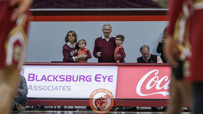 Former Virginia Tech football head coach Frank Beamer watches courtside as the game tips off. (Mark Umansky/TheKeyPlay.com)