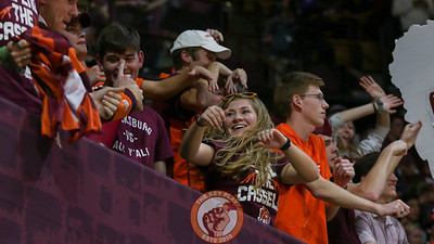 Students in the front row of the Cassell Guard dance to music during a media timeout. (Mark Umansky/TheKeyPlay.com)