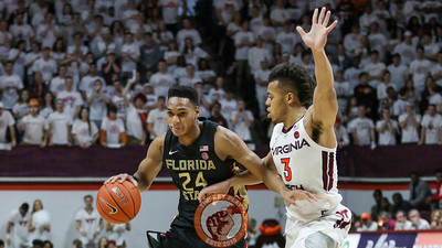 Wabissa Bede attempts to defend Florida State's Devin Vassell. (Mark Umansky/TheKeyPlay.com)