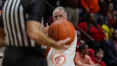 Head coach Mike Young looks on after a foul call goes the Hokies way. (Mark Umansky/TheKeyPlay.com)