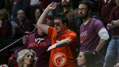 A Virginia Tech fan dances in the stands during a break in the action. (Mark Umansky/TheKeyPlay.com)