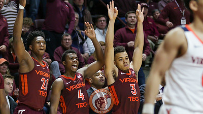 The Virginia Tech bench celebrates a three point shot late in the game. (Mark Umansky/TheKeyPlay.com)