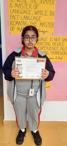 Congratulations to Sarvajna Bharathi Potturi of IB12 A for securing Zonal rank 2 in International English Olympiad. She received a Gold medal, cash prize of Rs. 5000/- and a gift certificate.