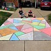 """Mosaic Chalk Driveway Art"" Collin and Keegan McCormick, seventh and fifth grades, Remington Traditional School"