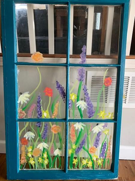 """Acrylic Wild Flower Glass Painting"" Sophie Chapman, Sixth Grade, Remington Traditional School"