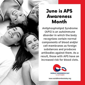 World Thrombosis Day proudly recognizes #APS Awareness Month in support of increased awareness and education for  Antiphospholipid Syndrome (APS).   Learn more about APS by visiting #WTDay19 partner APS Foundation of America, Inc.