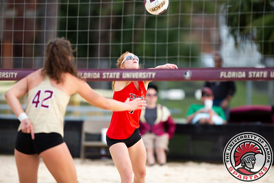 Tampa v Florida State University in volleyball action at FSU on Sunday, Feb. 24, 2019. (Photo by Taylor Jones)