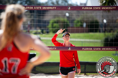 Tampa v Tulane in sand volleyball action at Florida State on Saturday, Feb. 23, 2019. (Photo by Taylor Jones)