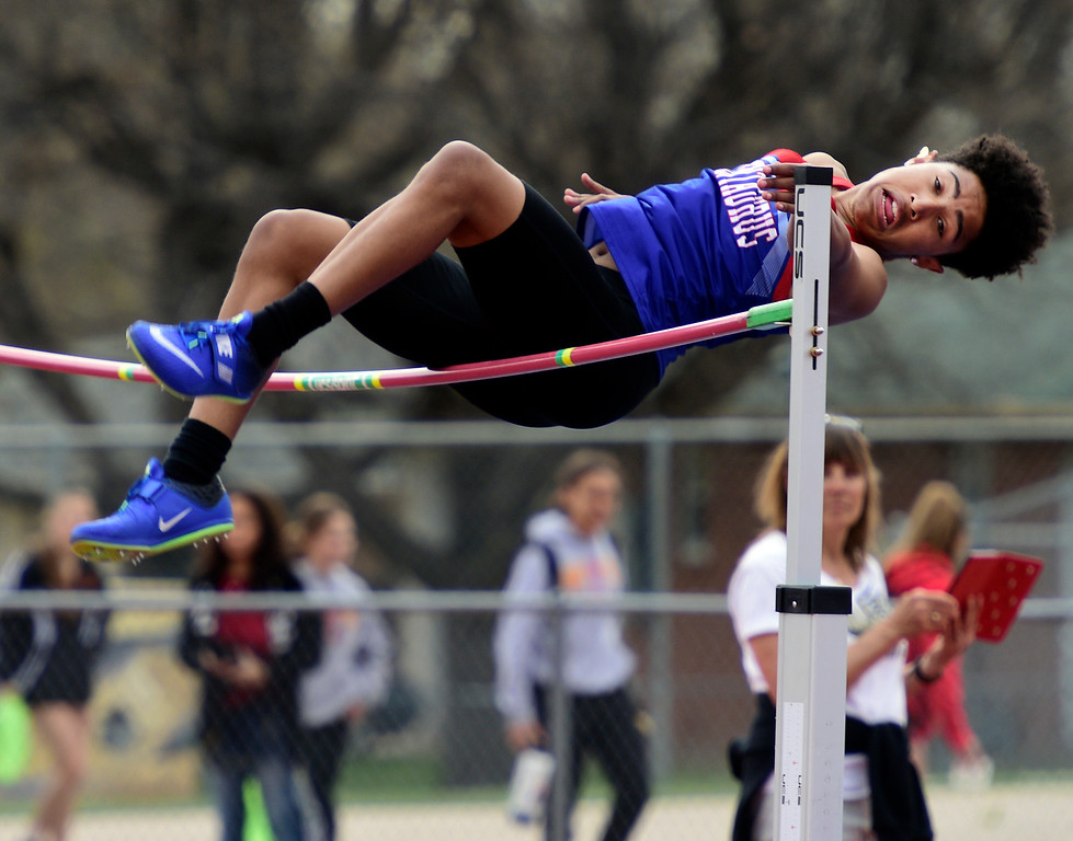. LONGMONT, CO - April 20, 2019:  Maliek Swain, of Centaurus, in the high jump at the Boulder County Track and Field Championships in Longmont. (Photo by Cliff Grassmick/Staff Photographer)