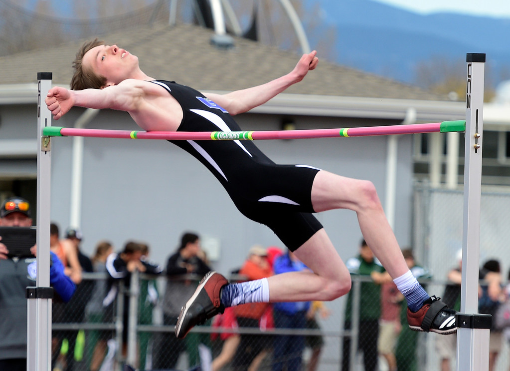 . LONGMONT, CO - April 20, 2019:  Jack Shew, of Longmont, wins the high jump at the Boulder County Track and Field Championships in Longmont. (Photo by Cliff Grassmick/Staff Photographer)