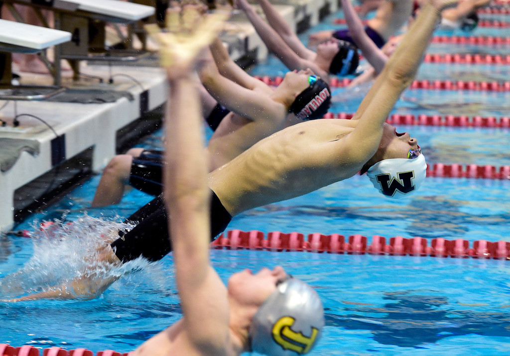 . THORNTON, CO - April 13, 2019: Jeffery Chen, of Monarch, starts the 200 yard medley relay  during the 2019 Boys\' Mustang Invitational. (Photo by Cliff Grassmick/Staff Photographer)