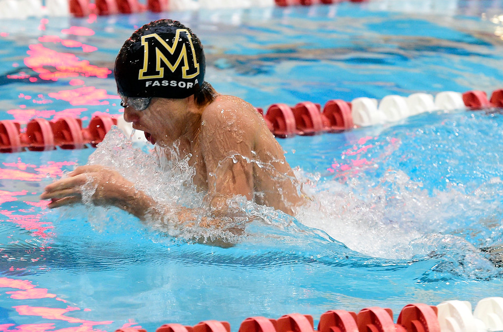 . THORNTON, CO - April 13, 2019:  Jake Fassora, of Monarch, competes in the 200 yard medley relay  during the 2019 Boys\' Mustang Invitational. (Photo by Cliff Grassmick/Staff Photographer)