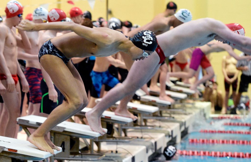 . THORNTON, CO - April 13, 2019:  Andrew Wu, of Silver Creek, competes in the 200 yard medley relay  during the 2019 Boys\' Mustang Invitational. (Photo by Cliff Grassmick/Staff Photographer)