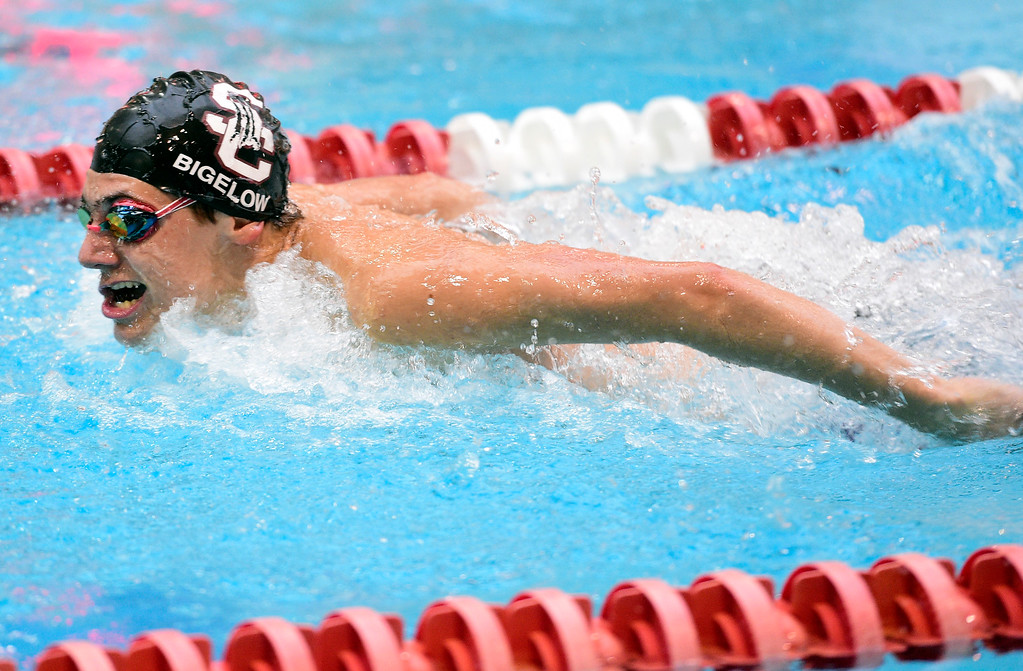. THORNTON, CO - April 13, 2019:   Pierce Bigelow, of Silver Creek, in the 100 butterfly during the 2019 Boys\' Mustang Invitational. (Photo by Cliff Grassmick/Staff Photographer)
