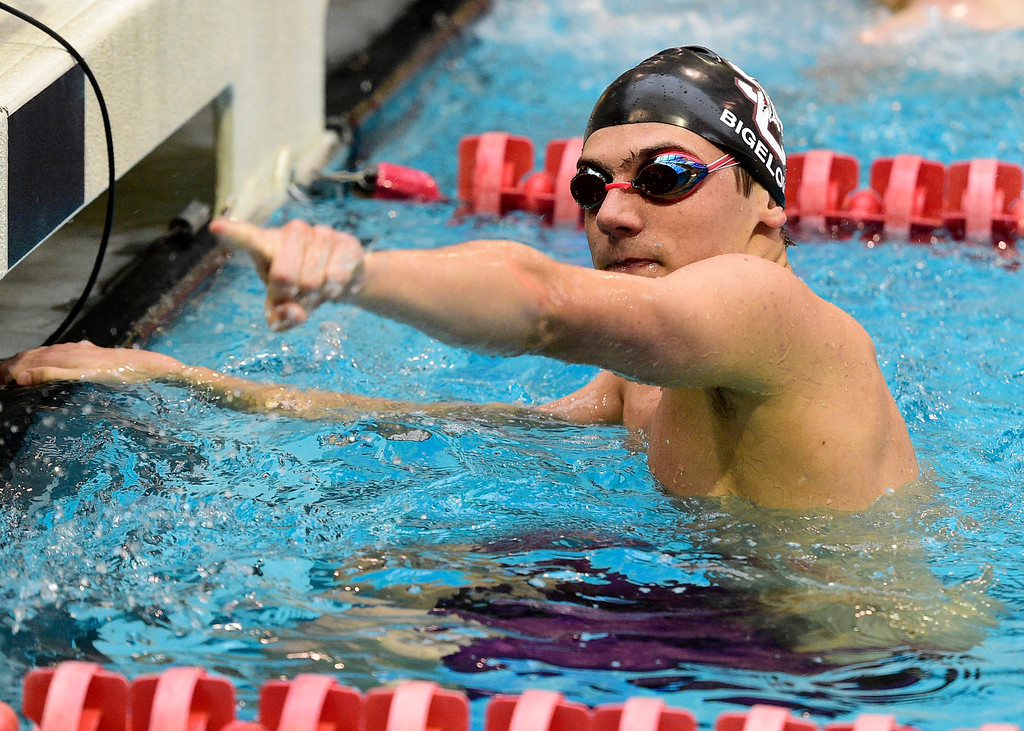 . THORNTON, CO - April 13, 2019: Pierce Bigelow, of Silver Creek, after the 100 butterfly during the 2019 Boys\' Mustang Invitational. (Photo by Cliff Grassmick/Staff Photographer)