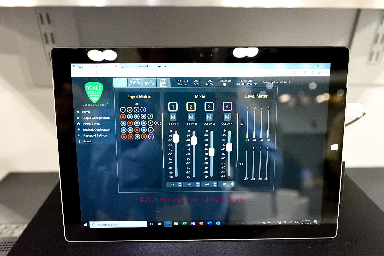 UI showing matrix and zone volume settings