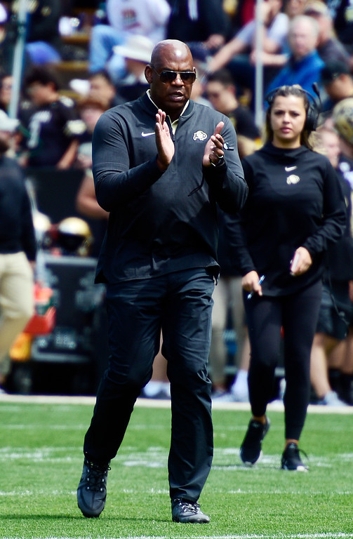 . Boulder, CO - April 27, 2019: Head coach, Mel Tucker, oversees his first CU Football Spring Game on April 27, 2019.  (Photo by Cliff Grassmick/Staff Photographer)