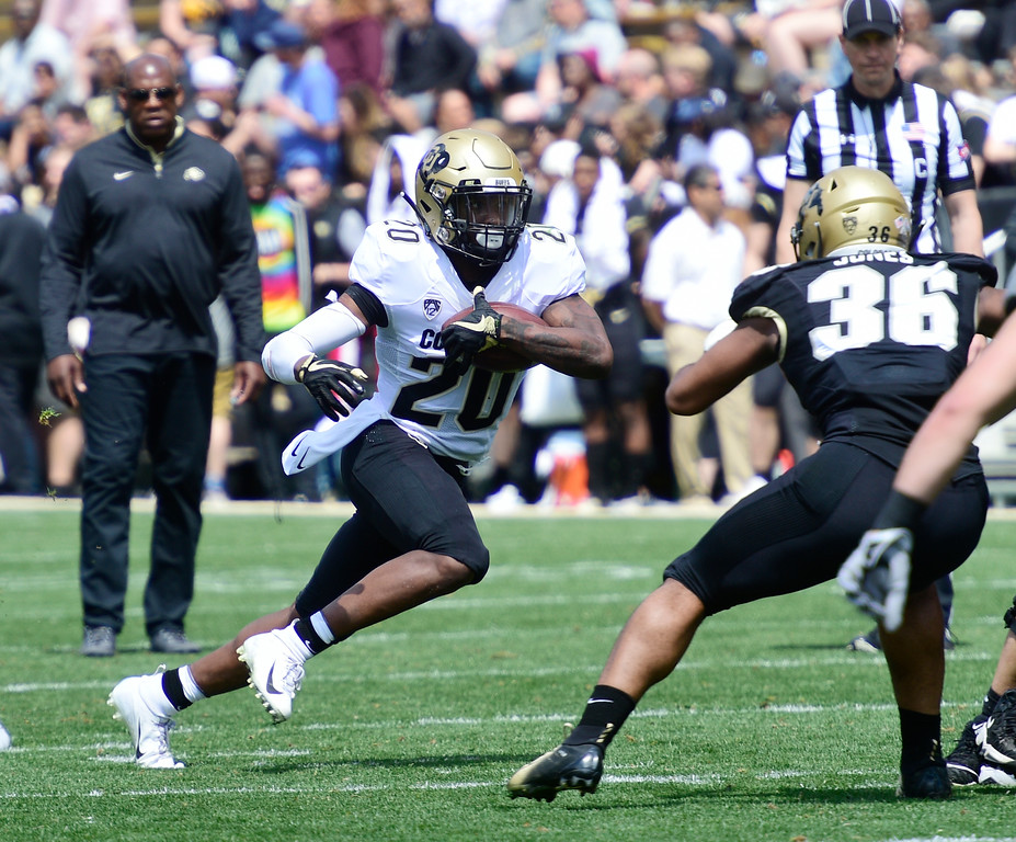 . Boulder, CO - April 27, 2019: Deion Smith on the run during the 2019 CU Football Spring Game on April 27, 2019. (Photo by Cliff Grassmick/Staff Photographer)