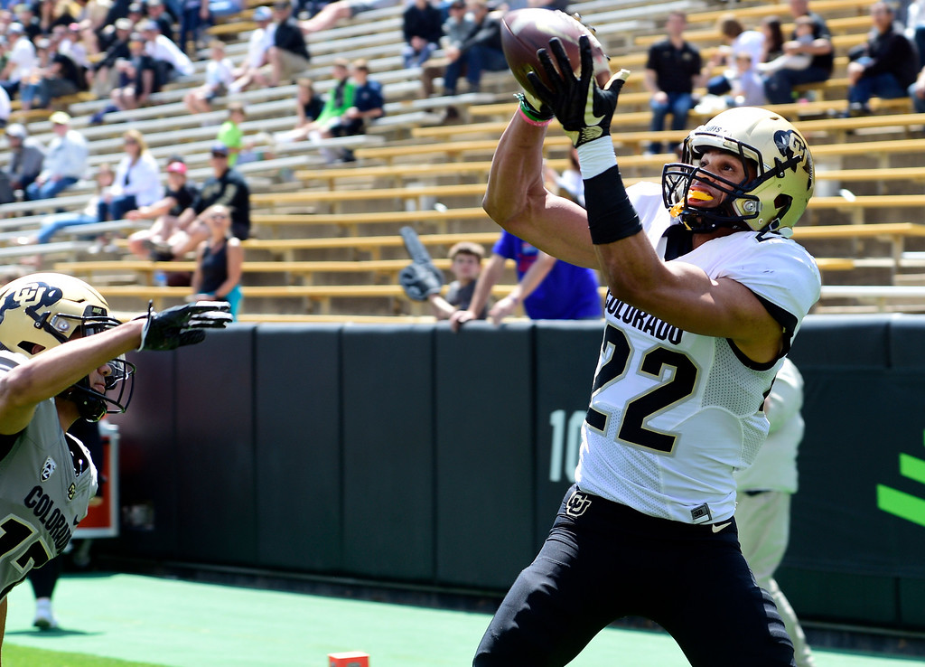 . Boulder, CO - April 27, 2019:  Daniel Arias collects one of his TD catches during the 2019 CU Football Spring Game on April 27, 2019. (Photo by Cliff Grassmick/Staff Photographer)