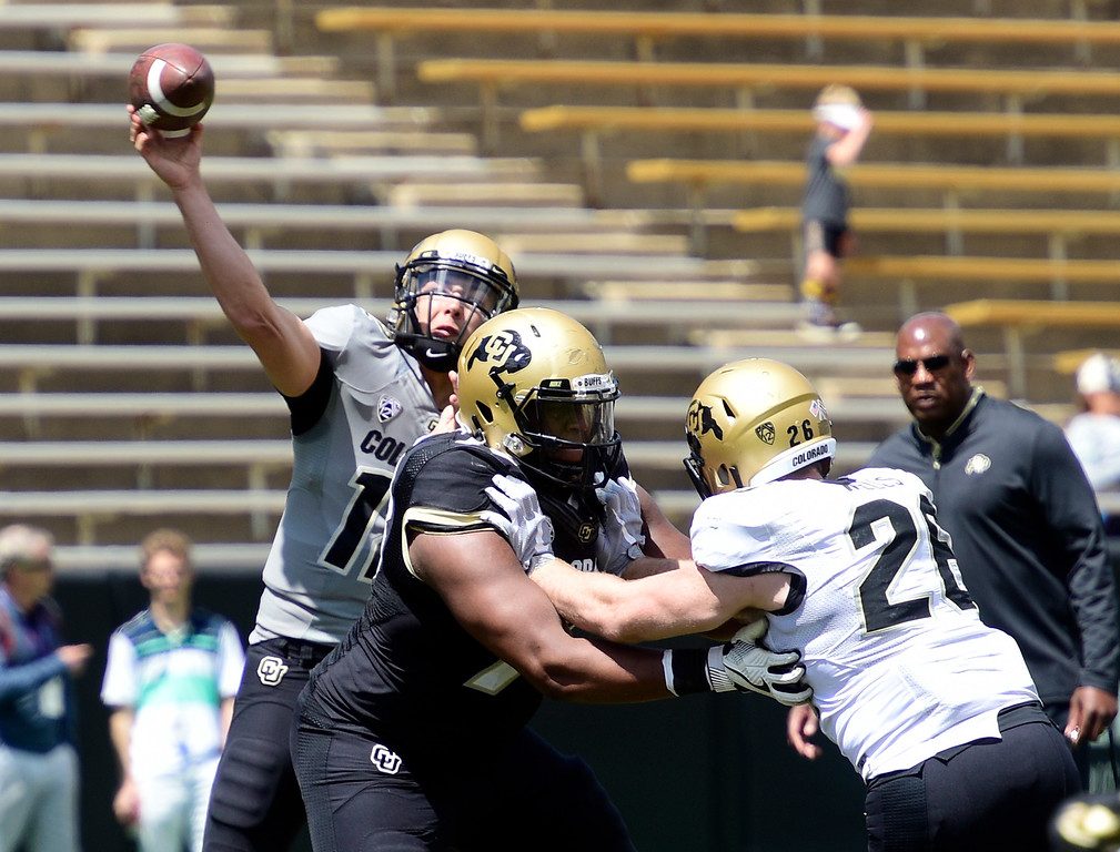 . Boulder, CO - April 27, 2019: Steven Montez throws over the middle during the 2019 CU Football Spring Game on April 27, 2019. (Photo by Cliff Grassmick/Staff Photographer)