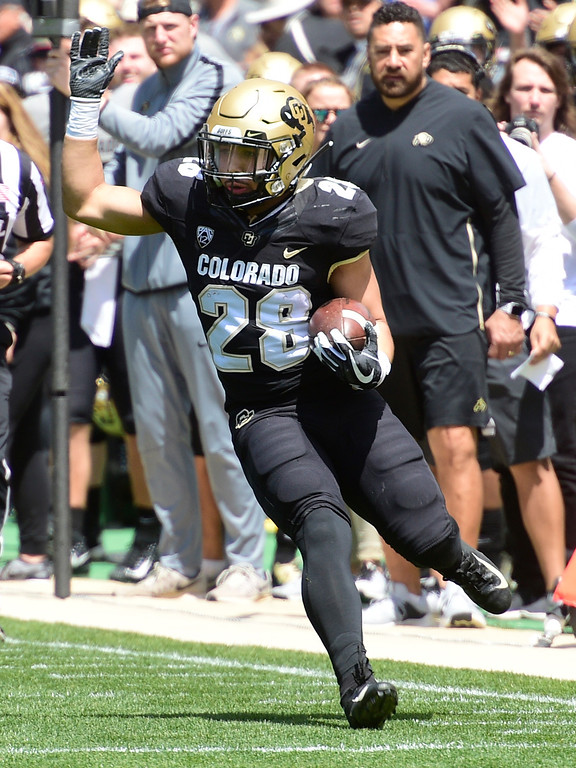 . Boulder, CO - April 27, 2019: Joe Davis on the run during the 2019 CU Football Spring Game on April 27, 2019. (Photo by Cliff Grassmick/Staff Photographer)