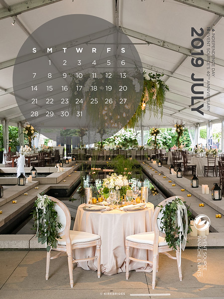 July Tablet Calendar Background