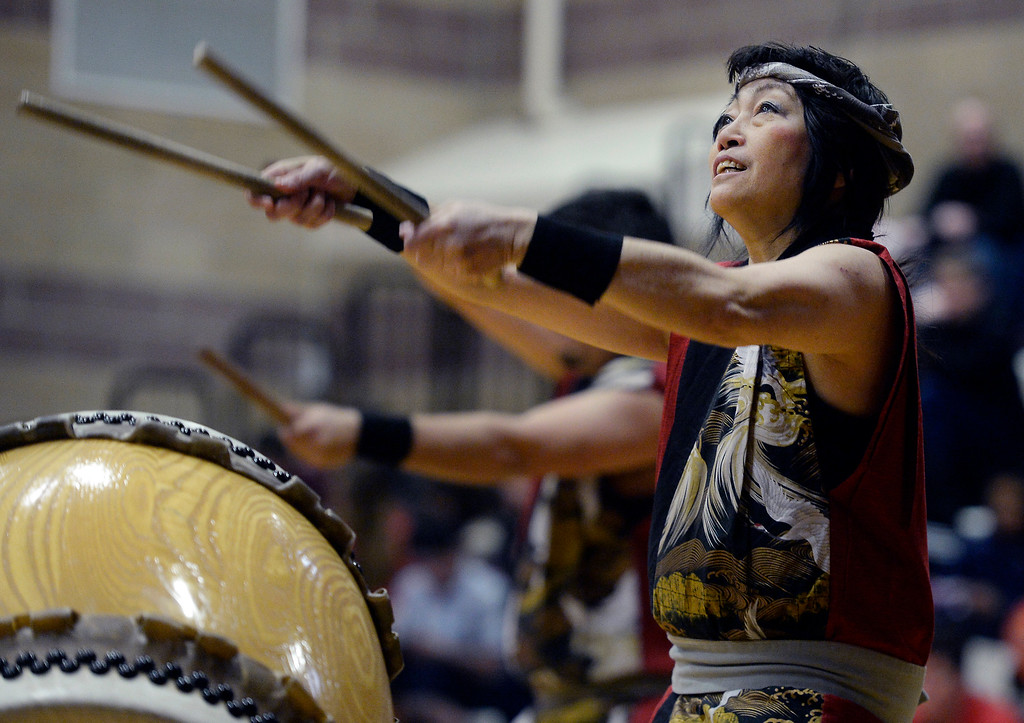 . LONGMONT, CO - February 16, 2019:  Aiko Kimura plays drums with the Denver Taiko at the Celebration. The Asian-Pacific Association of Longmont held the annual Chinese New Year Celebration on Saturday at Silver Creek High School. For more photos, go to dailycamera.com. (Photo by Cliff Grassmick/Staff Photographer)
