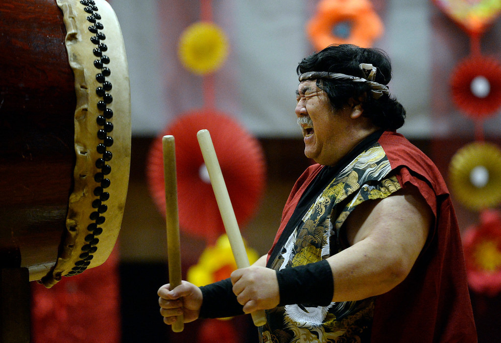 . LONGMONT, CO - February 16, 2019:  Yuji Kimura plays drums with the Denver Taiko at the Celebration. The Asian-Pacific Association of Longmont held the annual Chinese New Year Celebration on Saturday at Silver Creek High School. For more photos, go to dailycamera.com. (Photo by Cliff Grassmick/Staff Photographer)