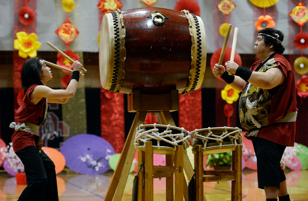 . LONGMONT, CO - February 16, 2019:  Cody Yoshida, left, and Aiko Kimura, play drums with the Denver Taiko at the Celebration. The Asian-Pacific Association of Longmont held the annual Chinese New Year Celebration on Saturday at Silver Creek High School. For more photos, go to dailycamera.com. (Photo by Cliff Grassmick/Staff Photographer)
