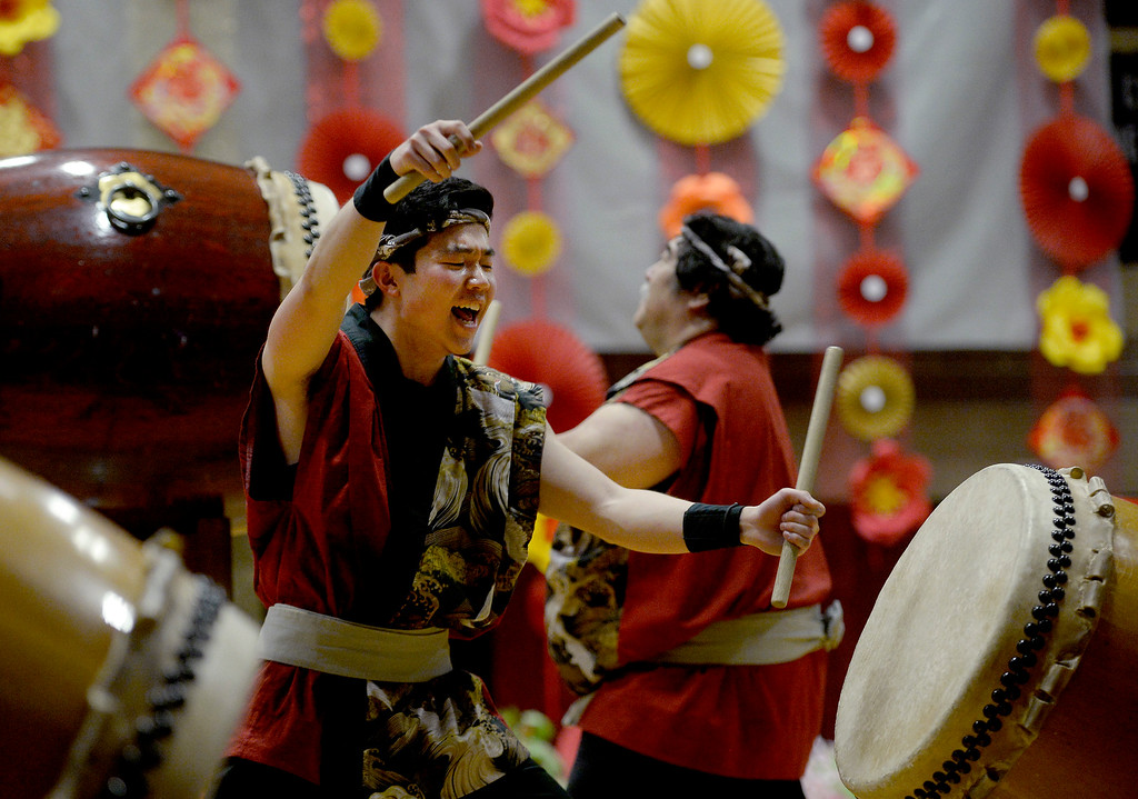 . LONGMONT, CO - February 16, 2019:  Ben Yoshida plays drums with the Denver Taiko at the Celebration. The Asian-Pacific Association of Longmont held the annual Chinese New Year Celebration on Saturday at Silver Creek High School. For more photos, go to dailycamera.com. (Photo by Cliff Grassmick/Staff Photographer)