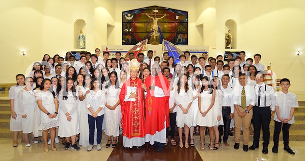 Sacrament of COnfirmation for Form 5 students. Presided by Archbishop Julian and con-celebrated by Fr Gerard.