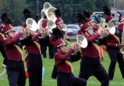 Roger Schneider | The Goshen News Members of the Jimtown mellophone section makes some music Saturday.