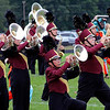 Roger Schneider | The Goshen News<br /> Members of the Jimtown mellophone section makes some music Saturday.