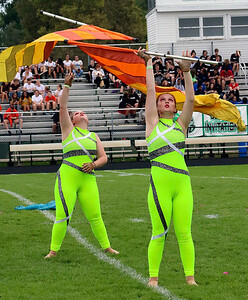 Roger Schneider | The Goshen News Members of the Wawasee band's color guard perform during their show at Concord Saturday.