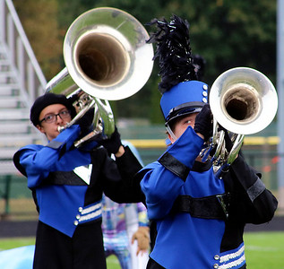 Roger Schneider | The Goshen News Jackson Otis (tuba) and Matthew Thomas (baritone), perform for the Fairfield Marching Pride at the Concord invitational.
