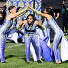 Roger Schneider | The Goshen News<br /> Members of the Concord color guard, from left, Ashanti Rogers, America Santos and <br /> Miriam Diaz-Reyes, perform during the Concord band's Saturday night show.