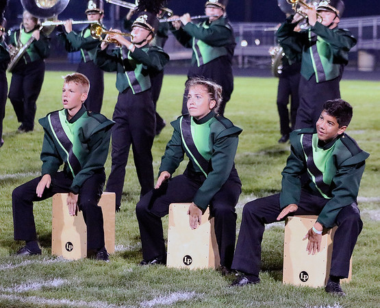 Roger Schneider | The Goshen News<br /> Northridge band percussionists, from left, Tim Blough, Megan Mansfield and Jackson Mathew, tap out a rhythm during the band's performance Saturday.