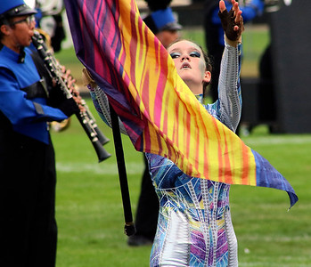 Roger Schneider | The Goshen News Fairfield color guard member Kylinne Jones works with her flag during Saturday's Concord invitational.
