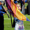 Roger Schneider | The Goshen News<br /> Fairfield color guard member Kylinne Jones works with her flag during Saturday's Concord invitational.