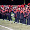"Roger Schneider | The Goshen News<br /> Members of the Goshen Crimson Marching Band's trumpets and French horn sections, ""protest"" as the band's show ""Common Ground,"" begins."