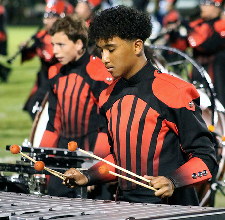 "Roger Schneider | The Goshen News<br /> Goshen percussionists Rudys Guzman, in front, and  Nick Mangona, concentrate on their show ""Common Ground."""
