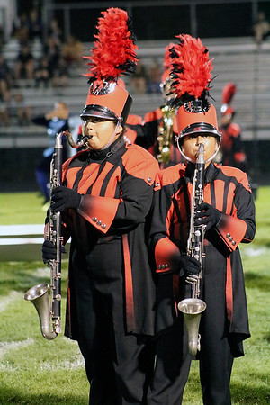 Roger Schneider | The Goshen News<br /> Goshen bass clarinet players Natalie Oliveram, left, and Jaminel Carreon, play at the Concord invitational Saturday.