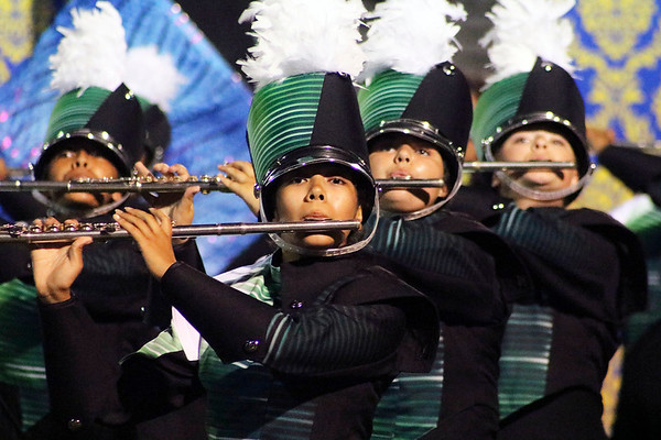 Roger Schneider | The Goshen News<br /> Viri Gomez is front and center among the Concord Marching Minutemen's flute section.