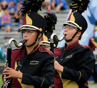 Roger Schneider | The Goshen News Makayla Smith and Aliyah Gordy march and play for the Jimtown band at the Concord invitational.